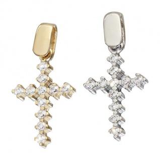 Kleines Kreuz Weißgold oder Gelbgold 585 Goldkreuz zu Taufe Anhänger Gold 14 kt