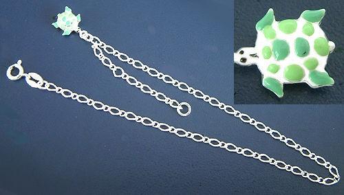 Massives Fußkettchen Silber 925 mit grüner Schildkröte - Ringverschluss
