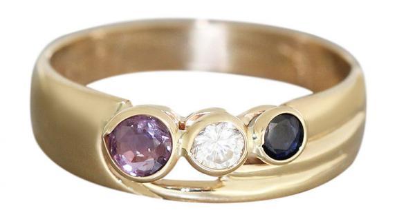 Multicolor Goldring 585 Edelsteinring Rubin Saphir Zirkonia Ring Gold Damenring