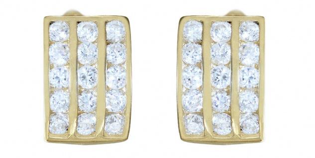 Breite Ohrringe Gold 585 Zirkonias weiß Creolen Damen 14 Karat