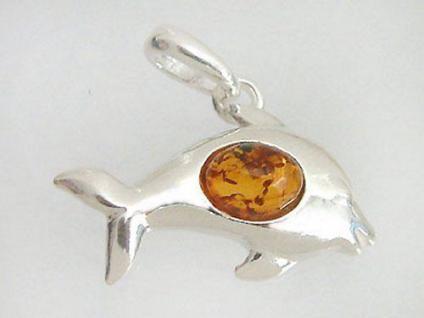 Großer Delfin Anhänger Silber 925 mit Bernstein Silberanhänger Bernsteinanhänger
