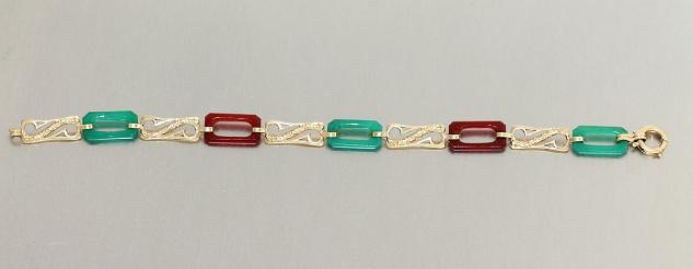 Armband Gold 585 mit Achat in Grün + Rot, Goldarmband 585, 14 kt Gold