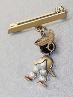 Goldbrosche 585 kleiner Mohr aus Perlen und Onyx Brosche Gold 14 kt alte Brosche