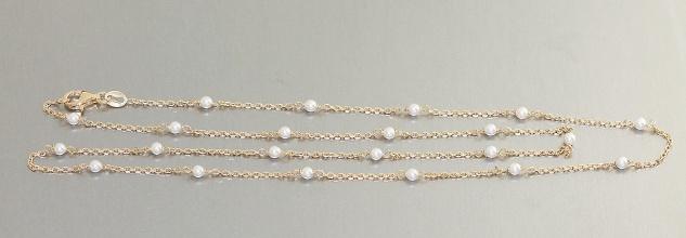 Zarte Silberkette 925 Gelbgold od Rotgold vergoldet mit Perlen Halskette Collier