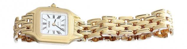 Massive Golduhr 750 / 18 Karat Geneve Damenuhr Armbanduhr Gelbgold