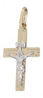 Kleines Kreuz Gold 585 mit Korpus Anhänger Goldkreuz Goldanhänger zur Kommunion