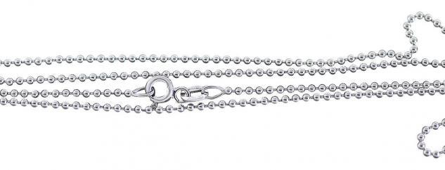 60 cm massive Silberkette 925 Kugelkette Sterlingsilber rhodiniert Halskette