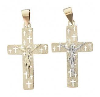 Anhänger Kreuz Gold 585 Korpus einfärbig od. bicolor Goldanhänger 14 Karat
