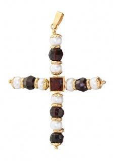 Großes Kreuz Gold 750 - Perle und Granat Anhänger - Goldkreuz 18 kt Perlenkreuz