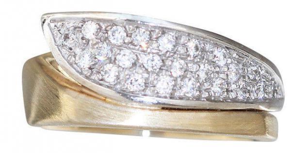 Ring Gold 585 massiv mit Zirkonias Goldring bicolor Damenring Designerring