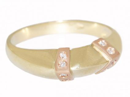 Ring Gold 585 bicolor Damenring mit 8 Brillanten Gelbgold Rotgold Diamanten