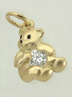 Süßer kleiner Teddybär - Anhänger Gold 750 mit Zirkonia Goldanhänger Teddy 18 kt