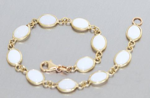 Armband Gold 750 Milchopal Opal Armkette Gelbgold 18 Karat Damen 19 cm Karabiner