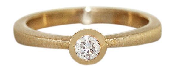 Brillantring 0, 20 ct. Solitärring Ring Gold 585 Goldring massiv Klassiker RW56