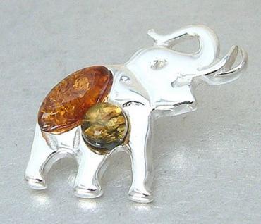 Anhänger Elefant Silber 925 Silberelefant m. echten Bernsteinen Silberanhänger