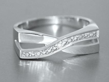 Weißgoldring 585 mit Brillant - Ring Weißgold - Designer Ring massiver Goldring