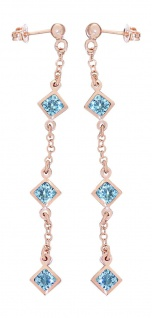 Lange Ohrhänger Silber 925 Rotgold vergoldet m hellblauen Zirkonias Ohrringe