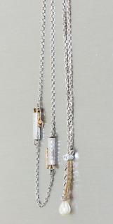Collier Weißgold 585 nassiv Perle u Brillanten Weißgoldkette variabel Kette Gold