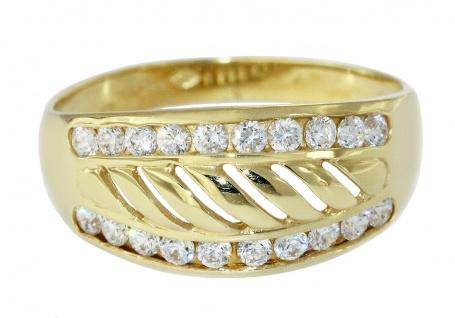 Breiter Ring Gold 750 mit Zirkonias Goldring Damen 18 Kt.