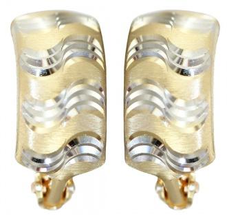 Creolen Gold 585 bicolor Ohrringe Halbcreolen Gold 14 Karat Damen Mädchen - Vorschau 1
