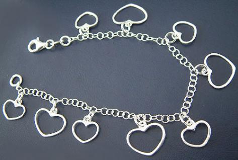19 cm Bettelarmband - Silberarmband 925 - Herz Armband Silber - Armkette Herzen
