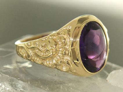 Goldring 375 mit Amethyst Ring Gold großer Amethystring Damenring RW 60 9 Karat