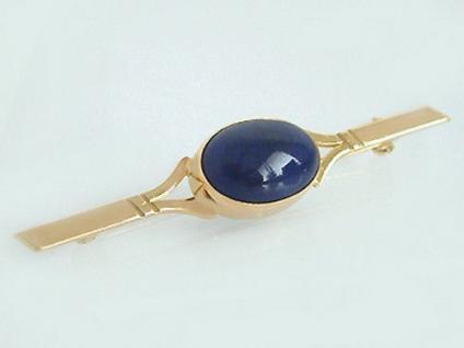 Elegante schlichte Brosche in Gold 750 mit Lapislazuli Goldbrosche mit Lapis