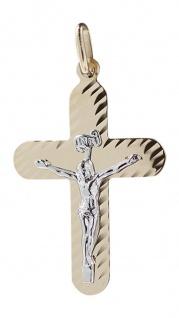Kleines Kreuz Gold 585 - Anhänger Goldkreuz mit Korpus - Goldanhänger 14 Karat