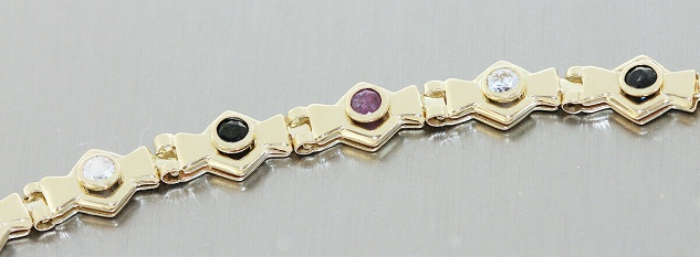 Armband Gold 585 Edelsteine Rubin Saphir Zirkonia 14 Kt. Armkette 20 cm Karabine