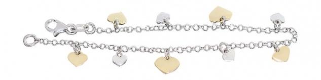 19 cm Bettelarmband Silber 925 Herzen Gold Armband massiv Herz Armkette bicolor