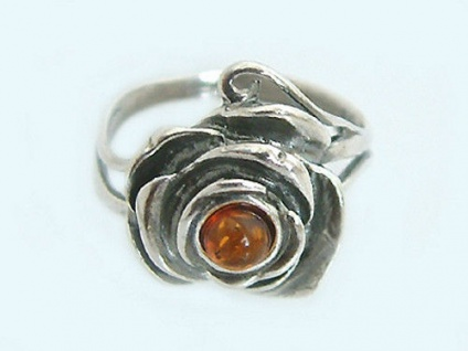 Ring Silber 925 Rose mit Bernstein - Silberring zur Tracht Rosenring
