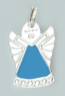 Anhänger Engel Silber 925 Schutzengel blau emailliert kleiner Silberanhänger