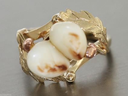 Ring Gold 585 -Ring in 14 kt Gold (585/000) mit 2 Grandln (Hirschzähne), Tracht
