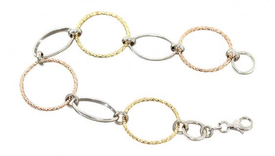 Armband Silber 925 große Glieder dreifärbig top Design Armkette Karabiner Damen