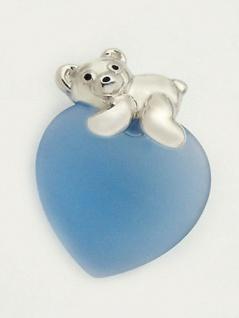 Putziger Teddy Silber 925 auf hellblauem Herz Silberanhänger Teddybär Silberbär