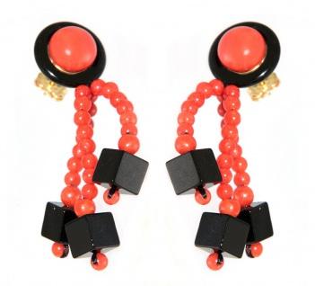 Extravagante Ohrhänger Gold 750 mit Koralle und Onyx Ohrringe Top Design Damen