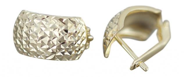 Breite Klappcreolen Gold 585 Ohrringe funkelnd geschliffen Ohrschmuck Damen