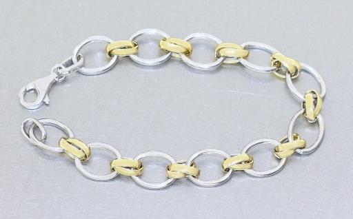 Armband Silber 925 bicolor Gelbgold vergoldet ovale Glieder Armkette Karabiner - Vorschau 2