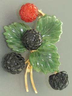Schmuckstein Brosche Brombeere Gold 585, Karneol, Onyx und Jade