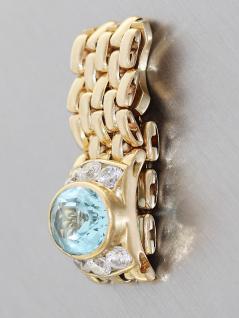 Kettenring Gold 750, Goldring 18 karat mit 1 Blautopas und Zirkonias, Damenring