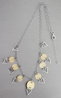 Collier Silber 925 Anhänger Herz Collier Halskette Sterlingsilber Damen bicolor