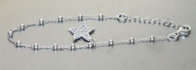 Seestern Armband Silber 925 Stern Anhänger Charm Silberarmband fein Kugelarmband