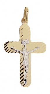 Edles Kreuz mit Korpus Gold 585 - Anhänger Goldkreuz flacher Goldanhänger 14 kt