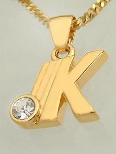 K - Schmuckset - Goldkette pl und Anhänger Buchstabe K - Panzerkette Gold pl