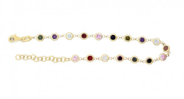 Armband Silber 925 vergoldet Zirkonias multicolor Armkette bunt Damen variabel - Vorschau 1