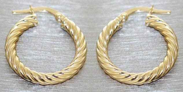 Creolen Gold 585 Ohrringe gedreht 14 Karat Damen Ohrschmuck 2, 0 cm - Vorschau 4