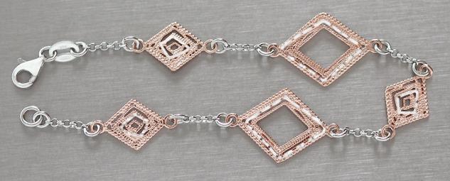 Armband Silber 925 Rotgold pl Silberarmband Rauten Rose Gold vergoldet Armkette