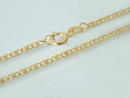 Flache gemusterte Goldkette 585 - zarte Halskette 50 cm - Kette Gold - Collier
