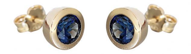 Massive runde Ohrstecker Gold 585 mit Saphir facettiert Goldohrstecker Ohrringe