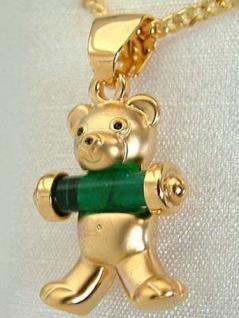 Goldkette pl u. Anhänger Teddybär - Schmuckset Teddy - Panzerkette Gold pl